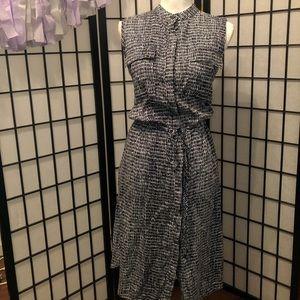 Ann Taylor M Navy Blue white mod print dress